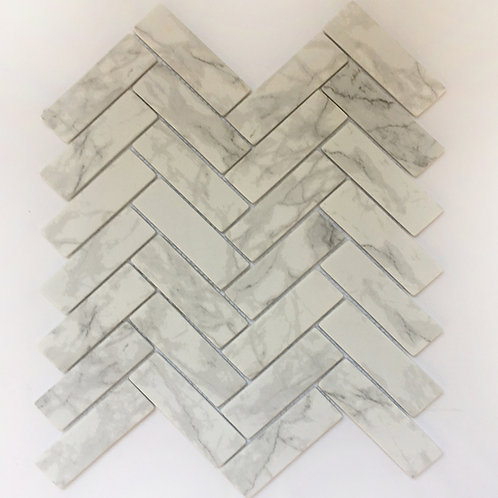 Enamel tile Carrara mosaics perfect for flooring in a shower, bathroom, kitchen or foyer