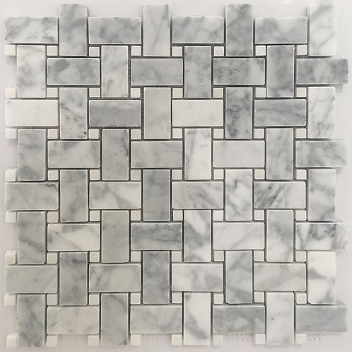 A classic pattern, this basketweave is made up of two polished marbles, bianco carrara and glacier white