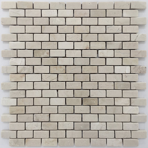 Crema Marfil tumbled mosaic in a brick joint pattern, a lovely stone tile for all types of home renovations