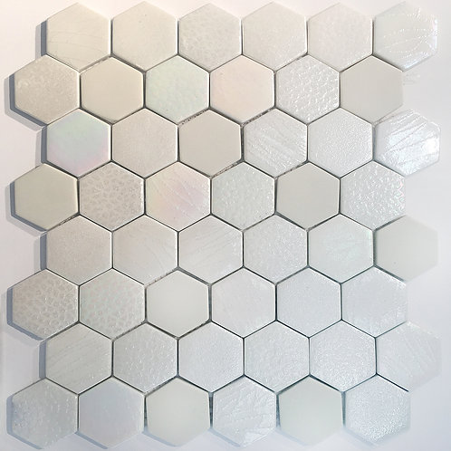 Six Pearl Mix (GY009) is an enamel mosaic in a hexagon pattern.  Pretty and soft for a girls bathroom or kitchen backsplash.