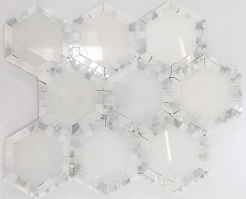 Hexagon Glacier & Micro dots Carrara Polished