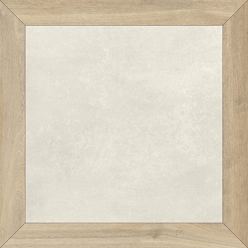 A creamy white porcelain tile with a wood like border that creates a pattern when installed