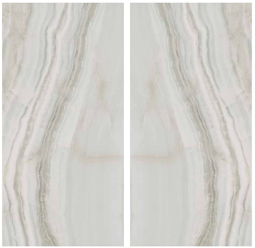book matched Slab Onyx Flow is a soft onyx looking slab  with cream, white and grey veins and gentle movement