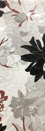 A flora pattern with black, white and red on a marble background is the signature of this porcelain tile.