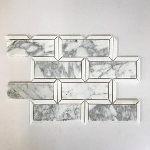Large Frame Brick Carrara & Thassos Polished 10x13.5 is a fresh take on the classic subway tile.