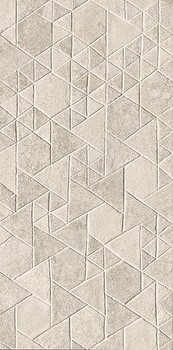 A porcelain tile created with a mix of triangles and polygons and a satin, slightly iridescent finish