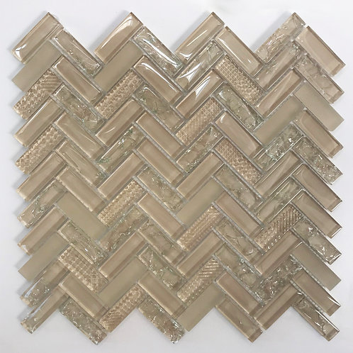 Herringbone glass tile is beautiful on bathroom walls, kitchen walls and any wall indoor wall that wants to stand out