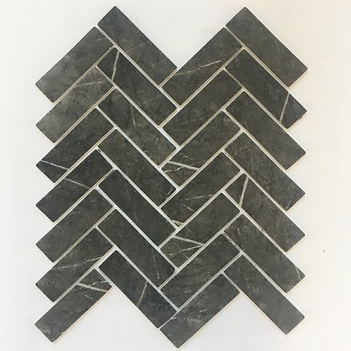 Gris Pulpis Enamel mosaic looks like the real marble Gris pulpis, seen here in a herringbone pattern