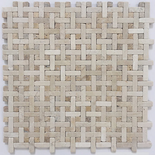 Wicker Crema Marfil and Travertine Gold is a tumbled marble mosaic basketweave