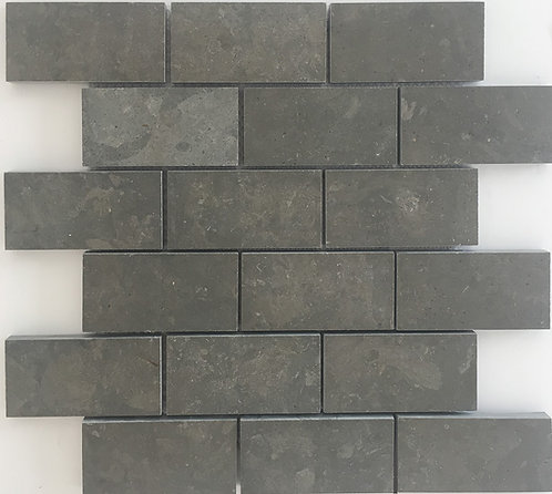 Azul Valverde also known as Lagos Blue, is a beautiful honed limestone in a subway tile