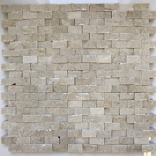Crema Marfil splitface mosaic, stonetile, pattern in a little larger size