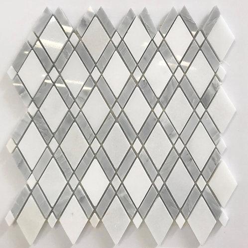 Lattice Design White & Carrara is a white and grey diamond lattice mosaic that is perfect for backsplash, shower floors, wall