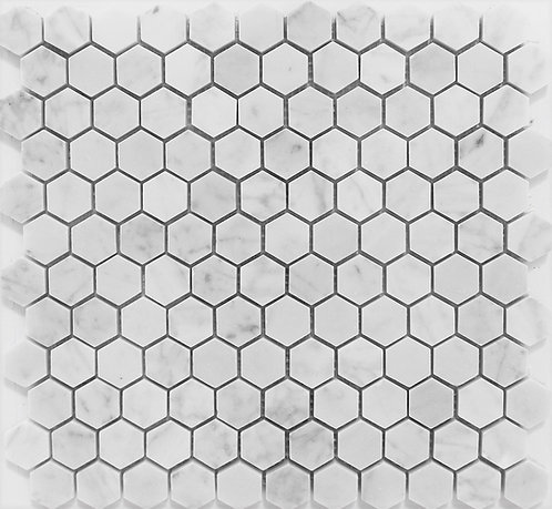 Bianco Carrara honed hexagon mosaic - that classic New York 50's style or that restoration hardware look - always timeless