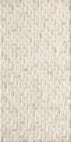 This 12x24 porcelain tile embodies a weave pattern reminiscent of herringbone and adds texture to surfaces