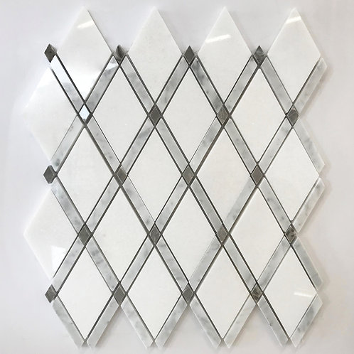 Grey and white marble lattice pattern is pretty and can be used as a feature accent in a backsplash installation