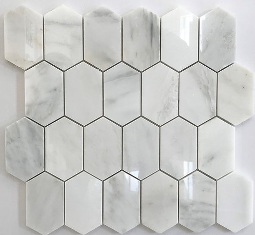 Elongated marble hexagons in sino carrara and a polished finish
