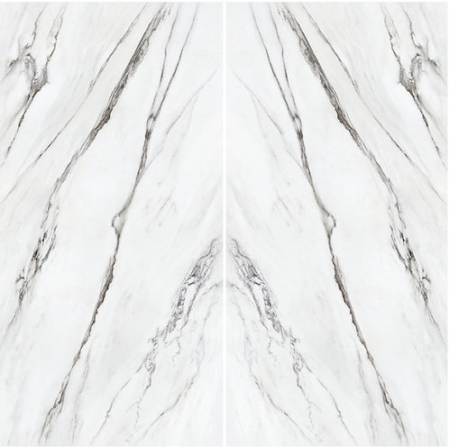 the finest, more unusual examples of Statuario marble. This porcelain tile features two faces that are a mirror image of each