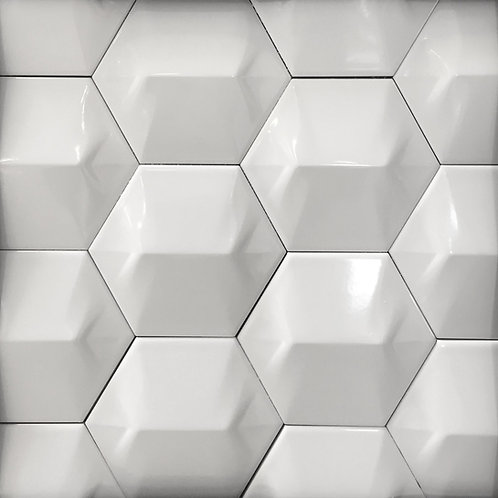 Hexagon White 3D Star
