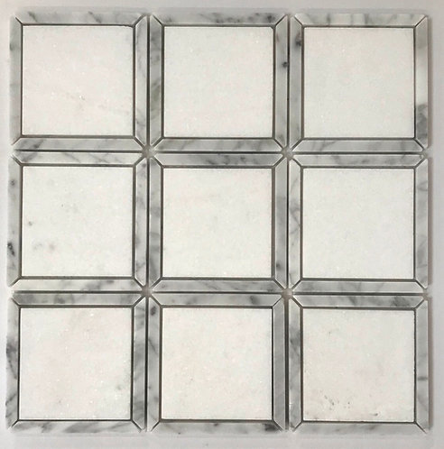 Framed with Bianco Carrara these Bianco thassos square tiles are unqiue and dynamic. For walls and floors.