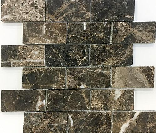 Brick joint subway marble tile in Dark Emperador polished marble