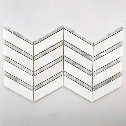 Chevron wide pattern in Bianco thassos marble and italian bianco carrara marble
