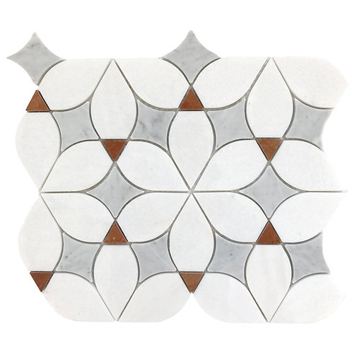 A pretty floral pattern waterjet cut out of marble and polished