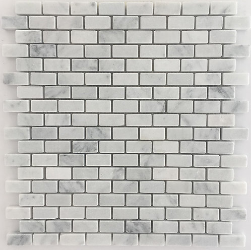 Bianco Carrara brick joint tumbled mosaic stone tiles