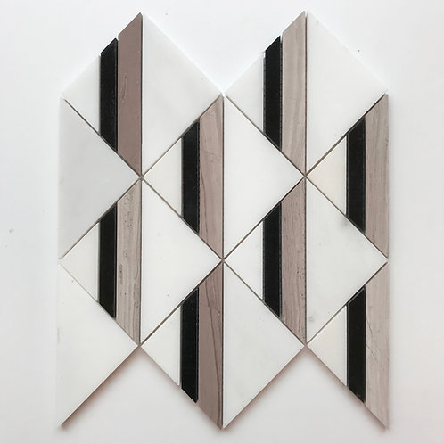 A contrasting, contemporary geometric triangle pattern created by using different marbles in white, black & taupe