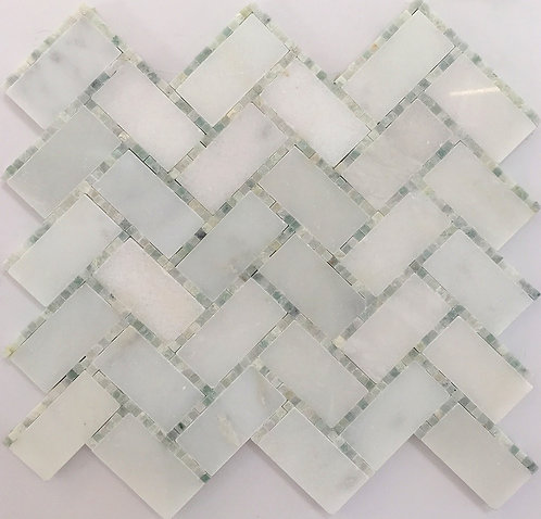 Herring Bone Glacier & Micro Dots Ming a classic pattern in beautiful marble tile with a twist of micro mosaics