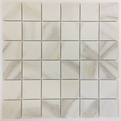 """Enamel Square Calacatta is an enamel 2""""x2"""" tile that is perfect for shower walls and shower floor applications"""