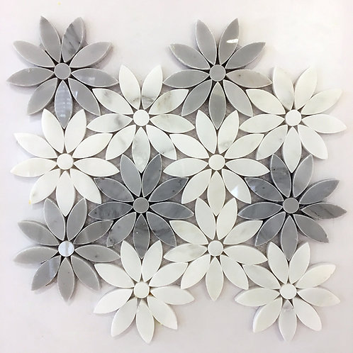 Flower Sino and Carrara 9.5X11 Polished Waterjet Pattern