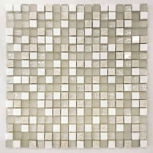 a pretty mix of marble, stone and glass make up this soft elegant mosaic. add a little bling to your design