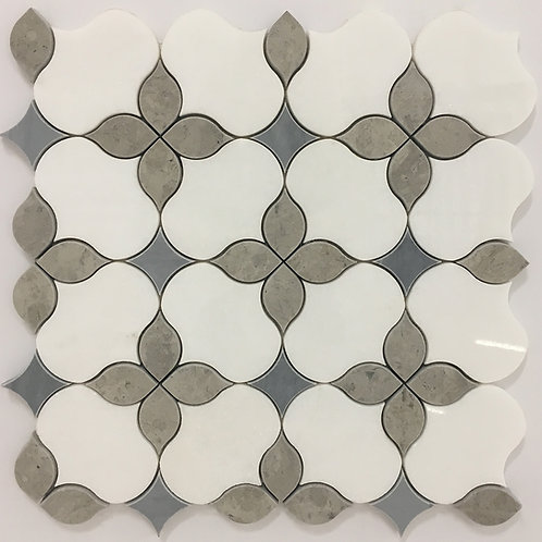 Chopin Flower Thassos, Blue & Grey Marble Polished Waterjet Pattern
