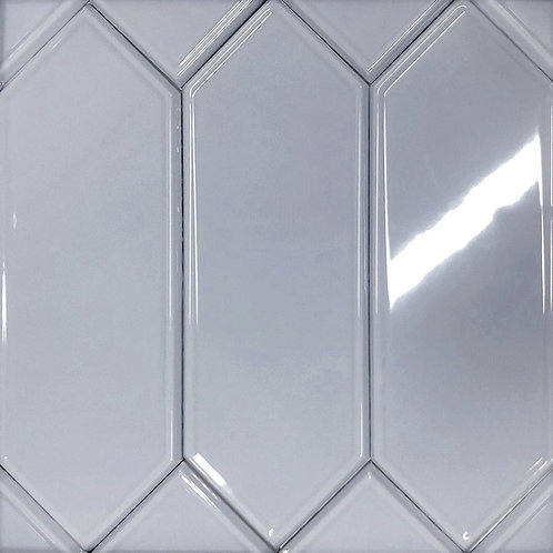A blue tile in the shape of a picket, perfect as a bathroom wall tile, shower wall tile and kitchen backsplash