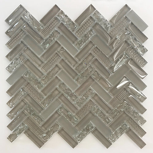 herringbone glass tile in different finishes and textures is ideal for kitchen and laundry room backsplash