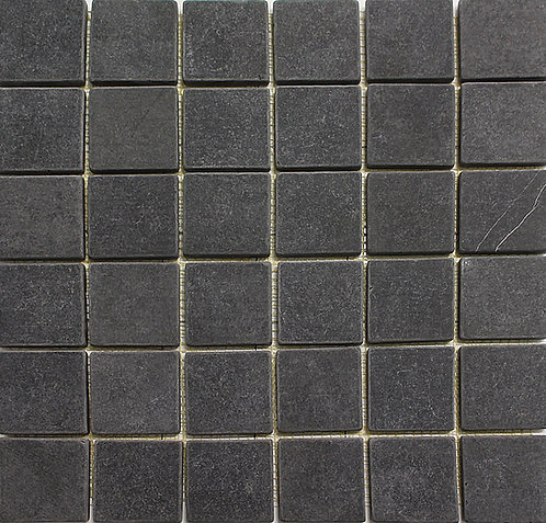 Marquinia 2x2 tumbled mosaic.  A rich black Spanish marble.