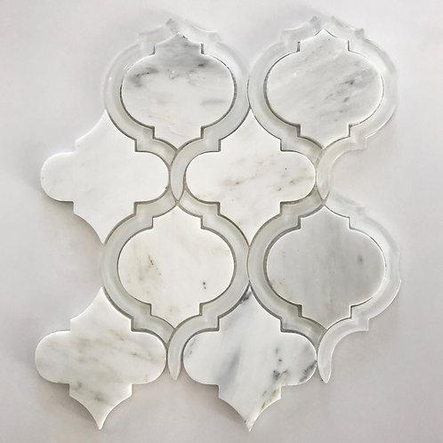 Waterjet Arabesque Sino & White Glass