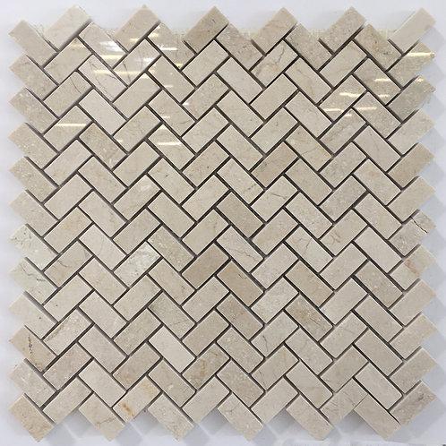 Crema marfil marble herringbone tile beautiful for backsplash and fireplace surround