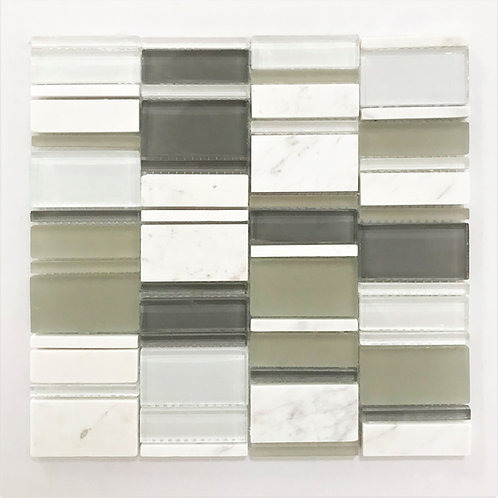 shades of greys and whites combine with stone and glass to make this mosaic. Ideal for backsplash and feature, shower walls