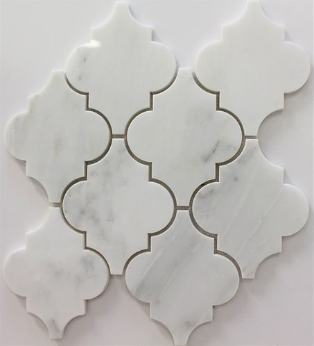 Arabesque Carrara large is a waterjet mosaic pattern perfect for any backsplash or wall installation