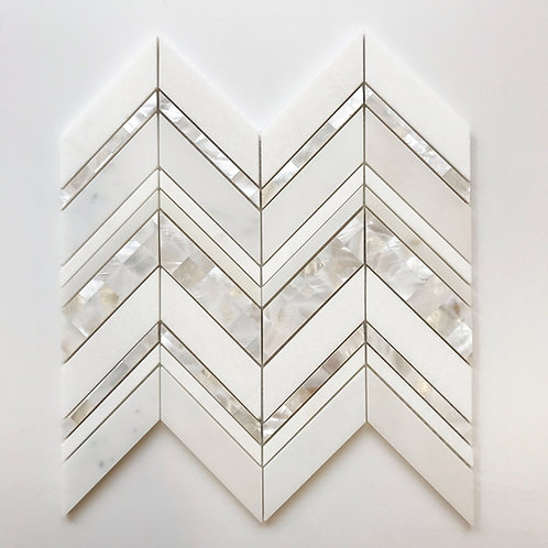 Beautiful Chevron waterjet pattern created with mother of pearl, thassos marble and glacier white marble