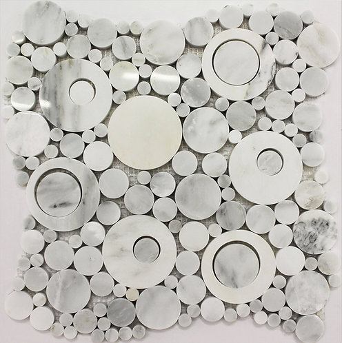 Circular marble mosaic with various size components made out of Bianco Carrara polished marble