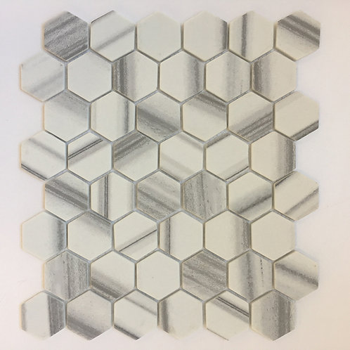 Enamel Hexagon Marmara mosaic tile for kitchen and laundry room backsplash, mudroom floors, shower walls