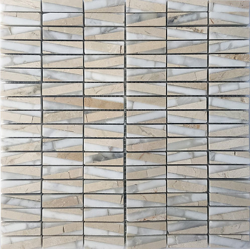 Fuse Tiger Stripe mosaic - white and cream marble rectangles