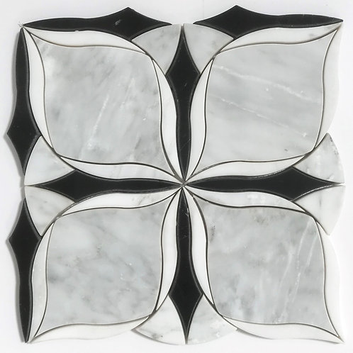 Black and white marble stone tile waterjet in a spectacular new pattern