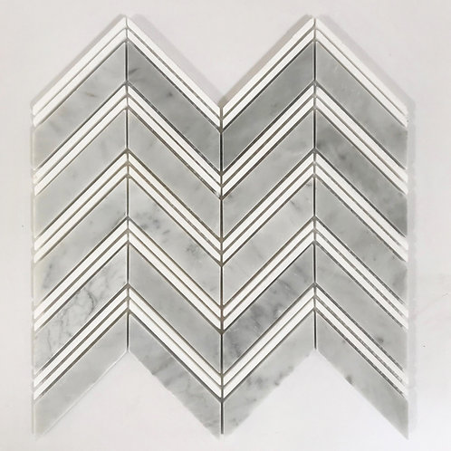 Chevron Thassos Double and Bianco Carrara Polished Waterjet