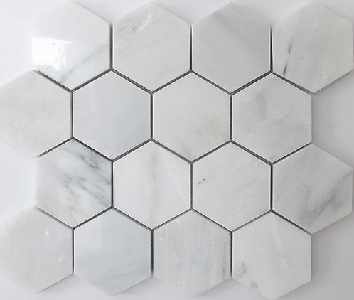 Sino carrara marble hexagons in 3x3 are stunning as a shower floor