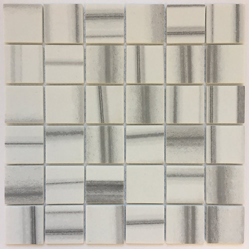 "Enamel Square Marmara is a 2""x2"" enamel tile mosaic that is durable enough for floor tile installations"