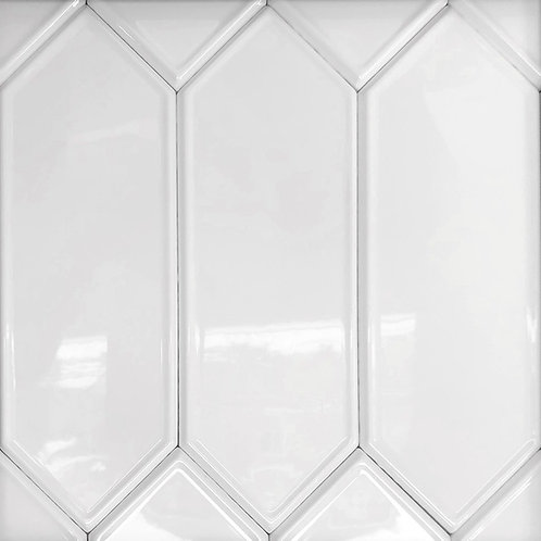 a snow white picket ceramic tile with a detailed edge, the marquise is for those who want a different design
