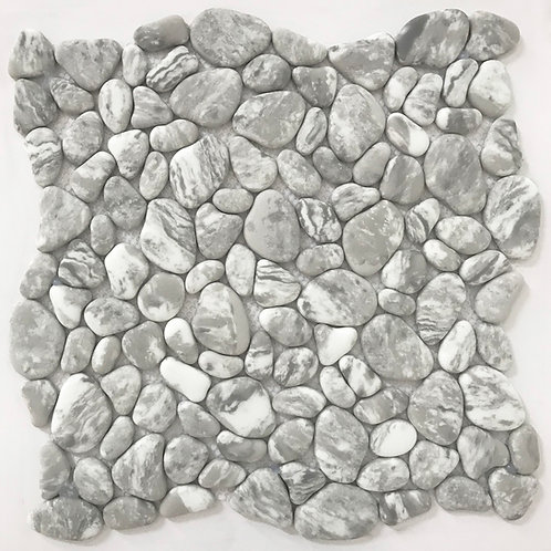 River Rock Enamel Carrara mosaic can be installed on a kitchen and laundry room backsplash for interest and practicality